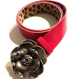 Betsey Johnson Pink Metal Flower Buckle Belt Sz M
